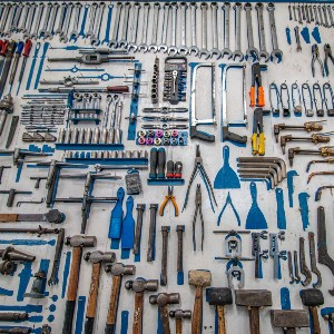 work bench full of tools